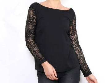 Sleeve lace top and back buttons