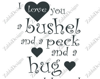 Bushel and a Peck SVG, Instant Download