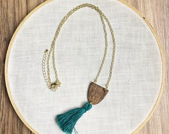 tassel necklace, boho necklace, wood necklace, statement necklace, pendant necklace, handmade jewelry, chain, wood, necklace, jewelry,