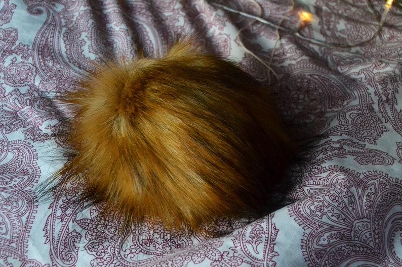 Faux Fur Pom Pom Faux Fur Golden Tamarin Pom Pom 5 inches Hat Pom Pom