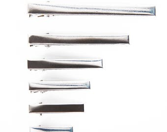 Alligator Silver Colour Hair Pin Clip Slide Blanks Metal Hair Bow Grips 57mm