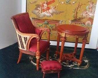 Dollhouse miniature 1:12 set. Table, chair, bench
