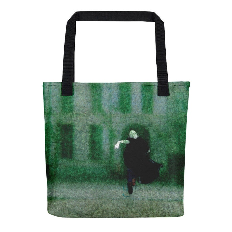 polyester fabric bag with print illustrated bag Green tote bag with little guy no to plastic green zero waste bag handmade green bag