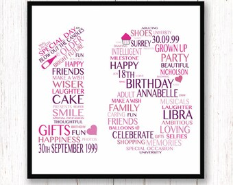 18th Birthday Gift Personalised Print Typography