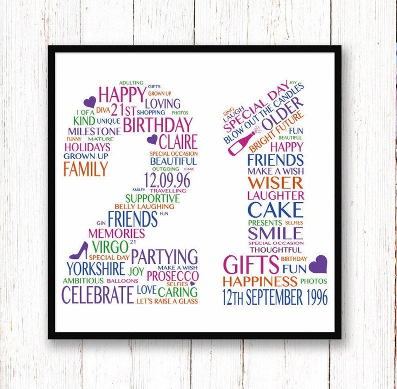 21st Birthday Gift Personalised Print
