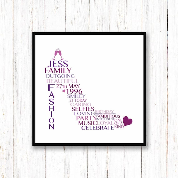 21st Birthday Gift For Her Personalised Shoe Print