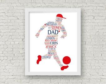 Gift for him -- Typograhy print for him -- Footballer Art -- Birthday Present for Him -- Footballer -- Sport Artwork --
