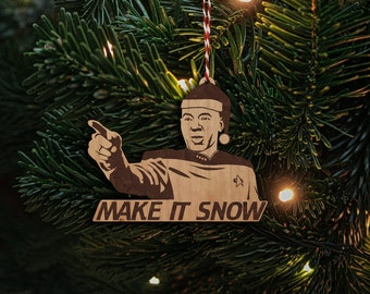 Personalized Wooden Christmas Ornament Star Trek inspired  TNG Captain Picard Make it Snow  - Cherry, Maple or Walnut decoration