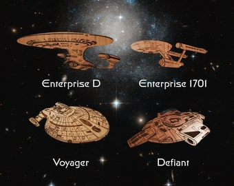 Personalized Wooden Christmas Ornament Star Trek inspired Ships Enterprise 1701, D, Voyager & Defiant - Cherry, Maple or Walnut decoration