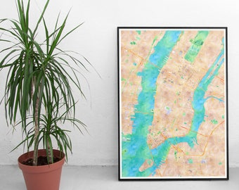 New York City Map, Watercolor Poster Print
