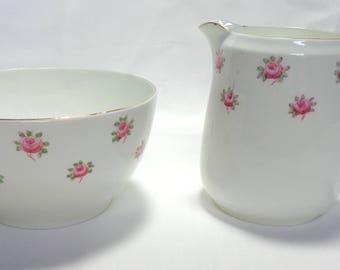 Heathcote china - milk jug and sugar bowl - rosebud pattern - 1920s