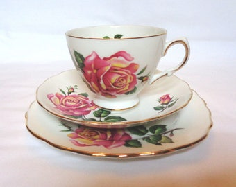 Crown Royal pink rose trio - cup, saucer & tea plate - Vintage 1960s