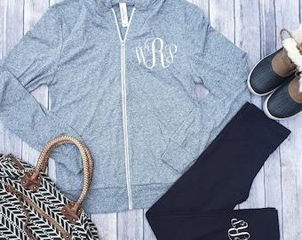 Bridal Party Monogram Getting Ready Tri-Blend Monogram Full Zip Lightweight hoodie and Custom Matching Monogram Yoga Pants - Vine White