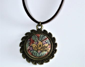 New Flower Fashion Pendant Necklace / Vintage  Kimono Fabric / Gift BOX HANDMADE 67