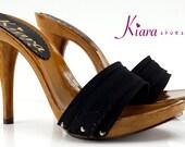 women 39 s black clogs heel 12 -KM7101 NERO
