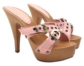 pink leather clogs heel 13 -K9330 ROSA