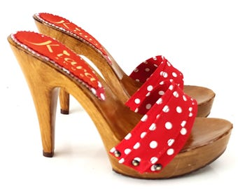 Comfy Clogs-K21101 polka dots Red