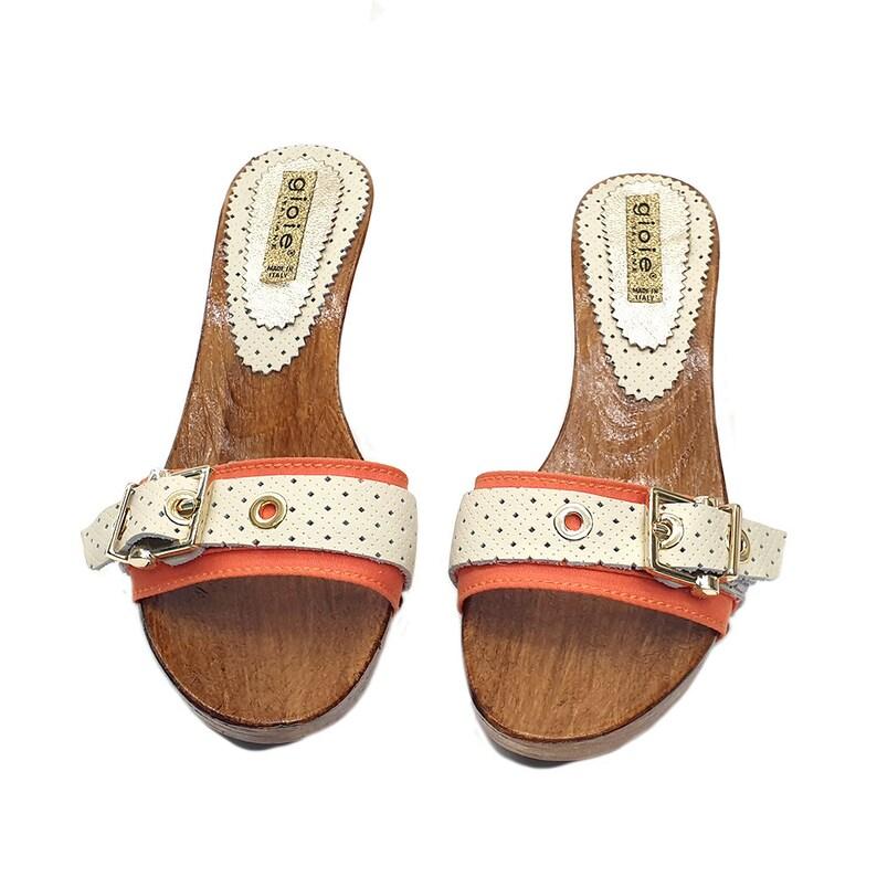 Comfortable clogs Bicolor Upper Made in Italy G501 ARANCIO