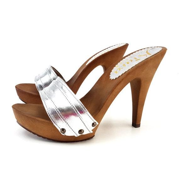 10d5ada5b8e10 women's silver leather clogs -K21301 ARGENTO