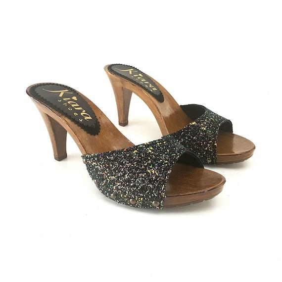 black glitter clogs heel 9 K61501 NERO  99cedf87671