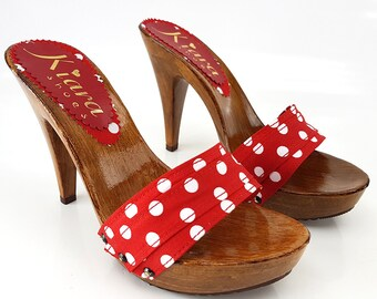 Polka dots Red Clogs-Comfortable clogs-K21101 polka dots Red