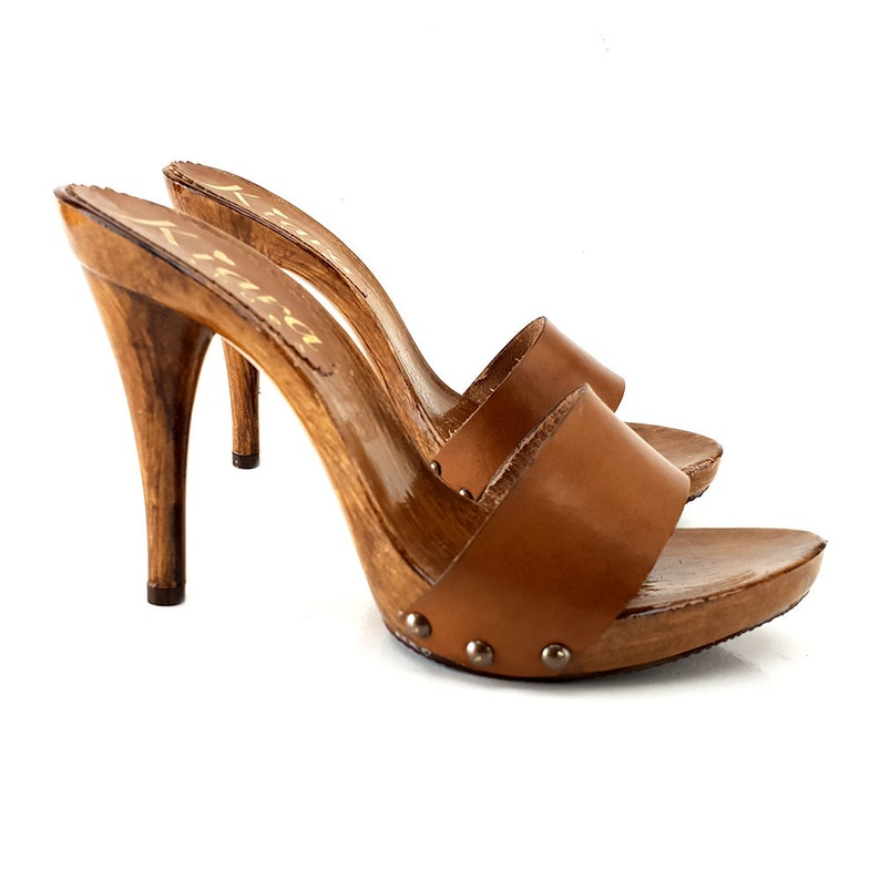 2efdc70187b6c lacquered brown leather clogs heel 12 -KM7202 CUOIO
