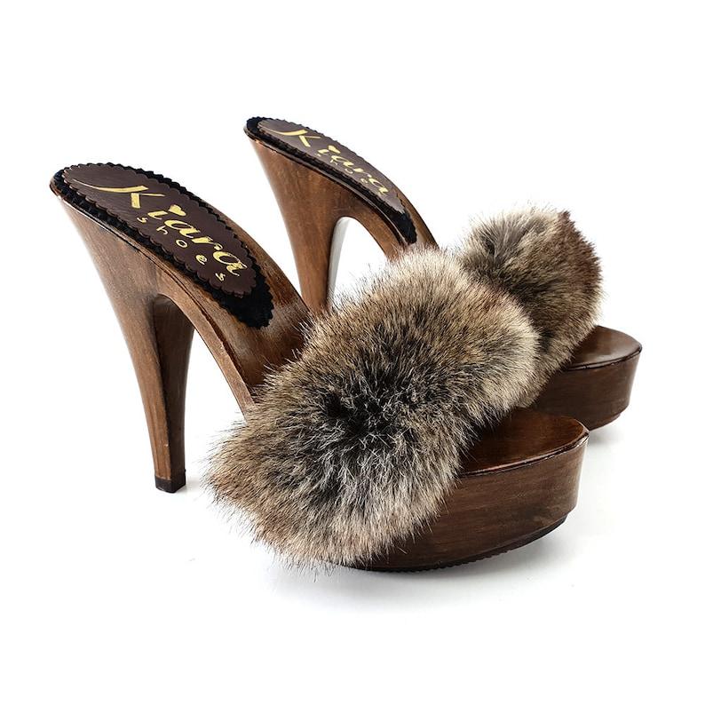 1fe603a88d308 women's clogs with fur -K9240 VISONE