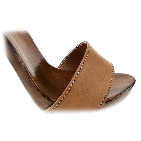 be0b7afd8913c brown handmade leather clogs -KM7203 CUOIO