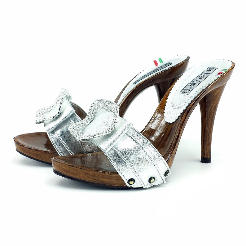 942475e45bfa8 silver leather clogs heel 12 -7126 ARGENTO