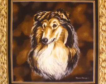 Patchwork Panel Collie n 1 tile fabric coupon
