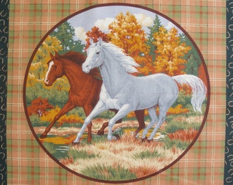 Patchwork panel fabric coupon sticker 2 horses (circle) n 1