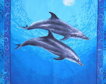 Patchwork panel fabric coupon sticker 2 n 1 dolphins