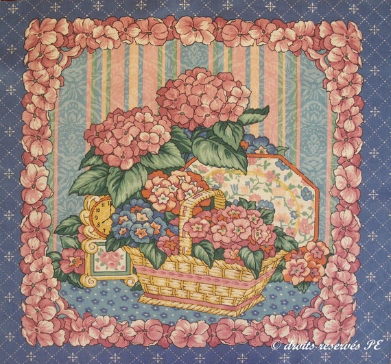 Coupon fabric Patchwork MAGNOLIAS background old pink cushion bag decoration patchwork sewing
