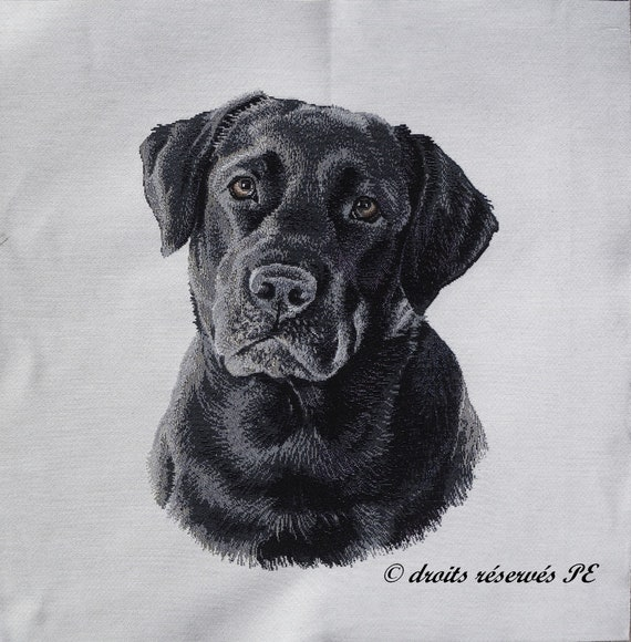 Fabric Cushion Upholstery Craft Quilting Panel Black Labrador Fabric Panel