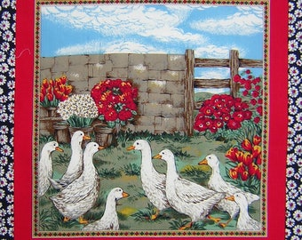 Patchwork Panel GEESE edge daisies N 1 tile fabric coupon