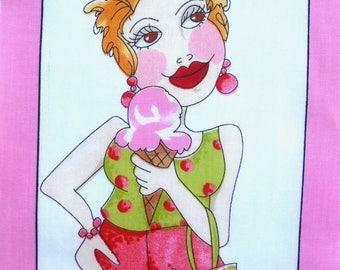 Patchwork Panel Vignette portrait series No. 14 LORALIE fabric coupon