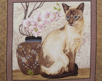 Fabric Patchwork tile Panel SIAMESE cat n 2 coupon