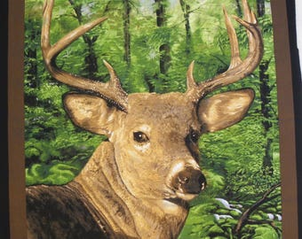 Coupon fabric Patchwork Panel PORTRAIT of deer