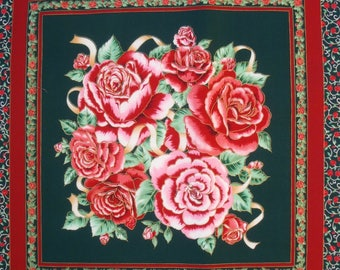 Patchwork Panel tile BOUQUET of ROSES fabric coupon