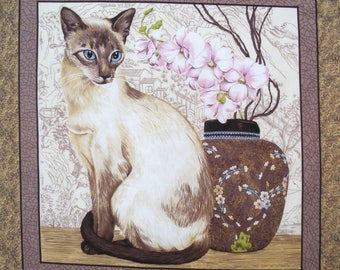 Fabric Patchwork tile Panel SIAMESE cat n 1 coupon