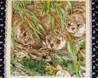 Patchwork Panel sticker OTTERS fabric coupon