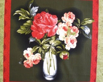 Patchwork Panel VASE of PEONIES n 1 tile fabric coupon