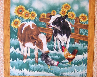 Patchwork panel fabric coupon sticker 2 CALVES sunflowers n 1