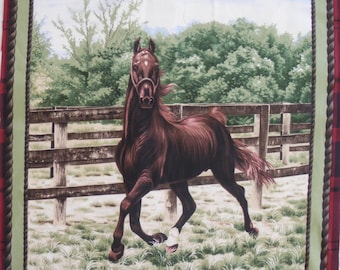 Coupon fabric patchwork Panel Thoroughbred sticker in the pen no. 1