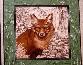 Coupon fabric Patchwork Panel tile PORTRAIT of Fox