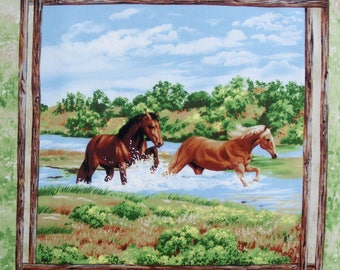 Patchwork panel fabric coupon thumbnail 2 horses in river