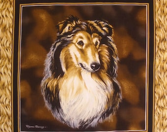 Patchwork Panel Collie n 2 tile fabric coupon