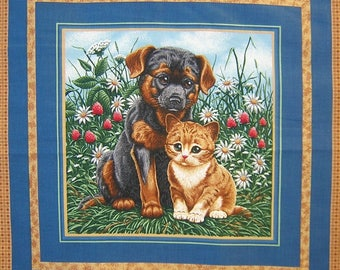 Fabric Patchwork Panel puppy and kitten n 2 coupon