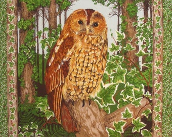 Fabric Patchwork Panel tile OWL edge Ivy n 2 coupon