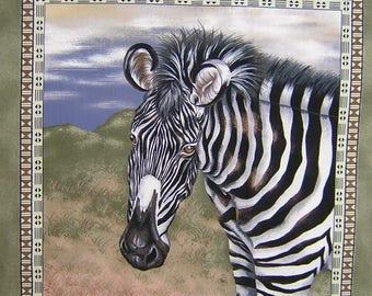 Coupon fabric Patchwork Panel Vignette PORTRAIT Zebra